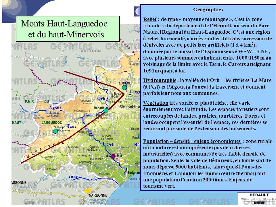 Monts Haut-Languedoc et du haut-Minervois Géographie :