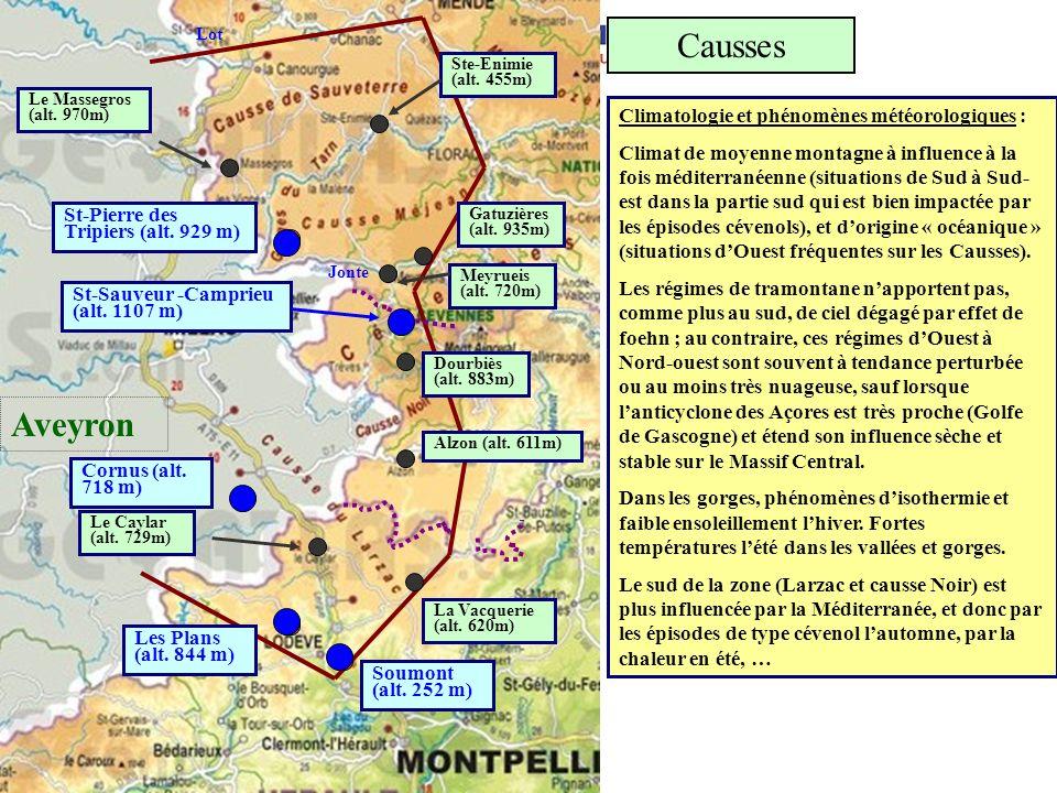 Causses Aveyron Climatologie et phénomènes météorologiques :
