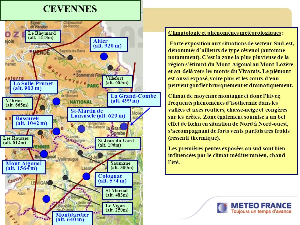CEVENNES Climatologie et phénomènes météorologiques :