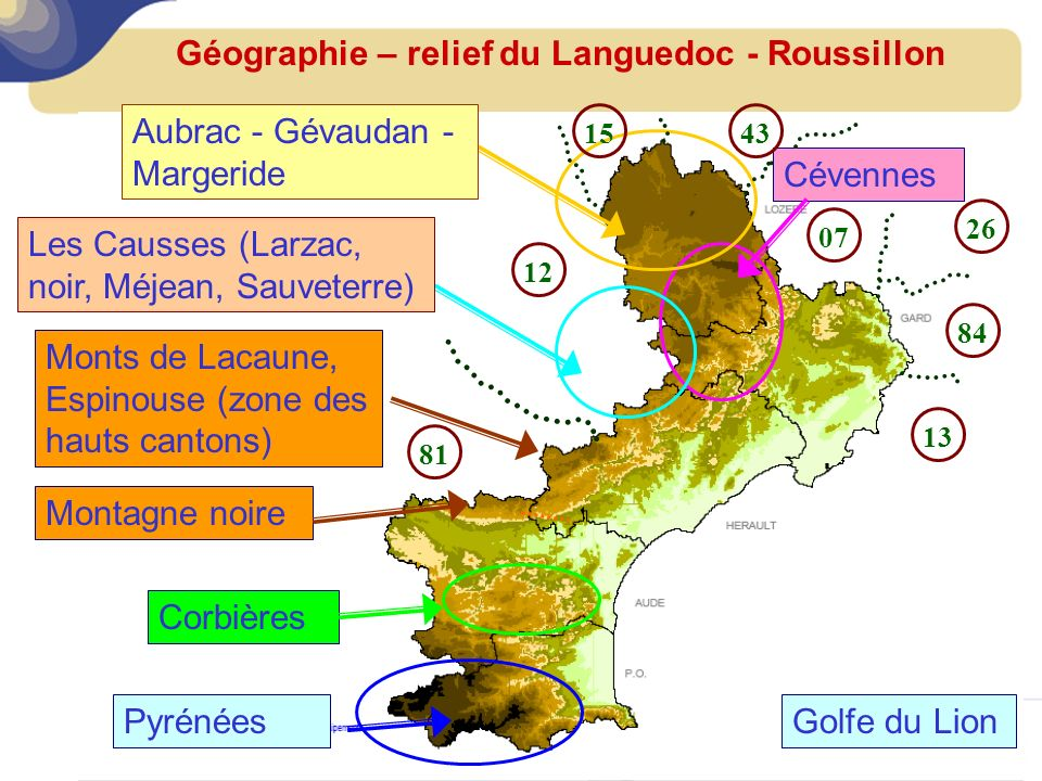 Géographie – relief du Languedoc - Roussillon