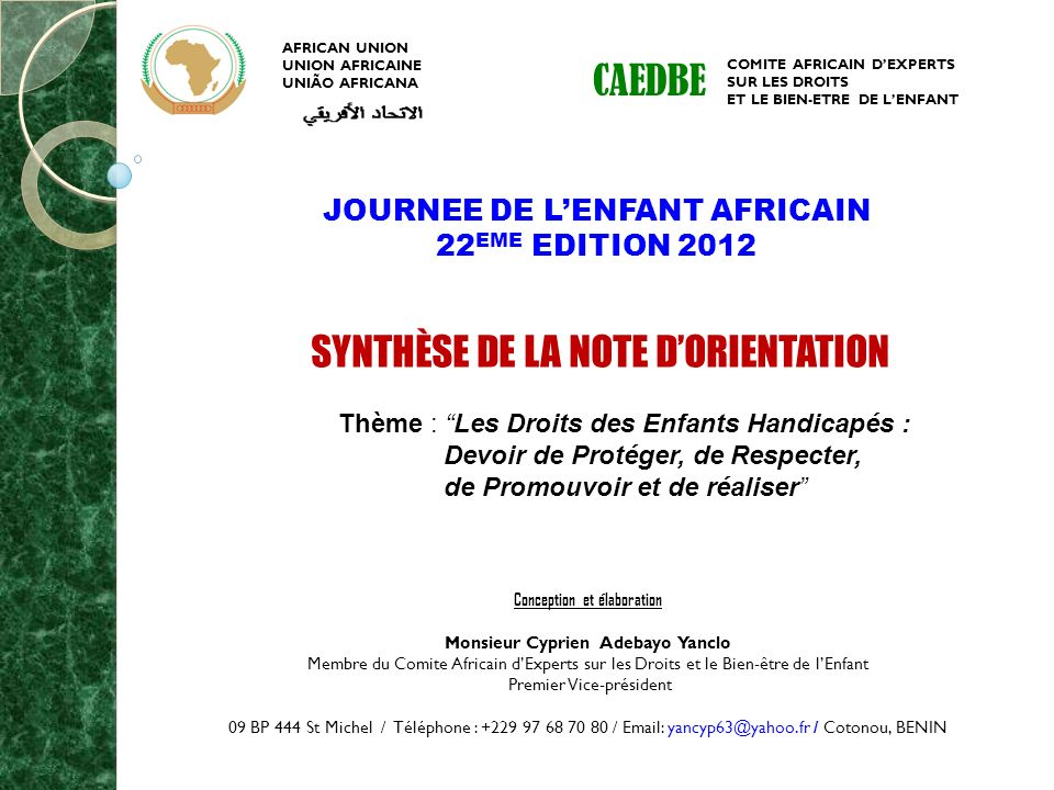 CAEDBE JOURNEE DE L'ENFANT AFRICAIN 22EME EDITION 2012
