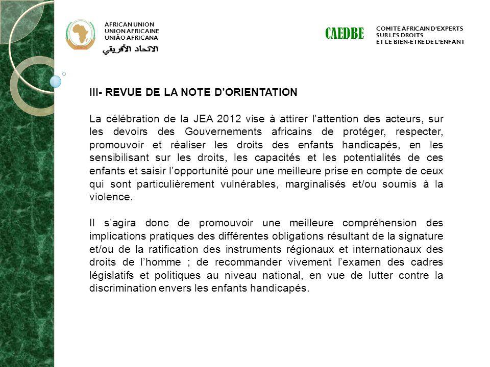 CAEDBE III- REVUE DE LA NOTE D'ORIENTATION