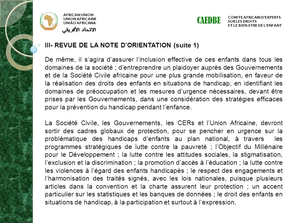CAEDBE III- REVUE DE LA NOTE D'ORIENTATION (suite 1)