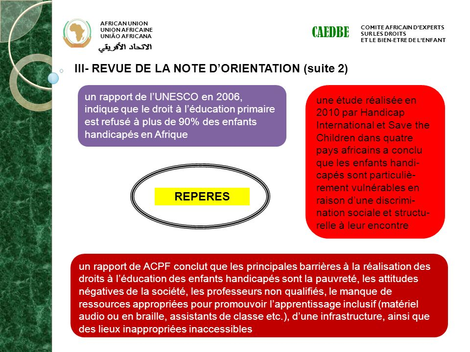 CAEDBE III- REVUE DE LA NOTE D'ORIENTATION (suite 2) REPERES