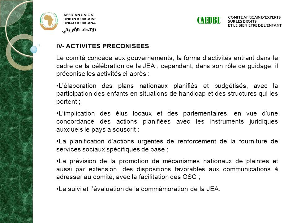 CAEDBE IV- ACTIVITES PRECONISEES