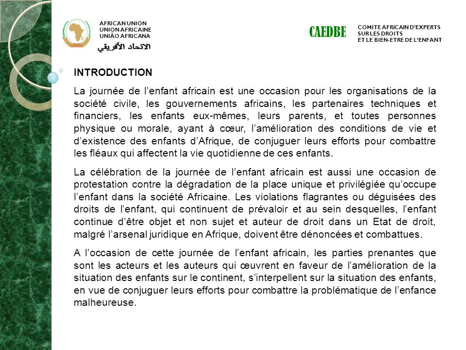 AFRICAN UNION UNION AFRICAINE. UNIÃO AFRICANA. CAEDBE. COMITE AFRICAIN D'EXPERTS. SUR LES DROITS.
