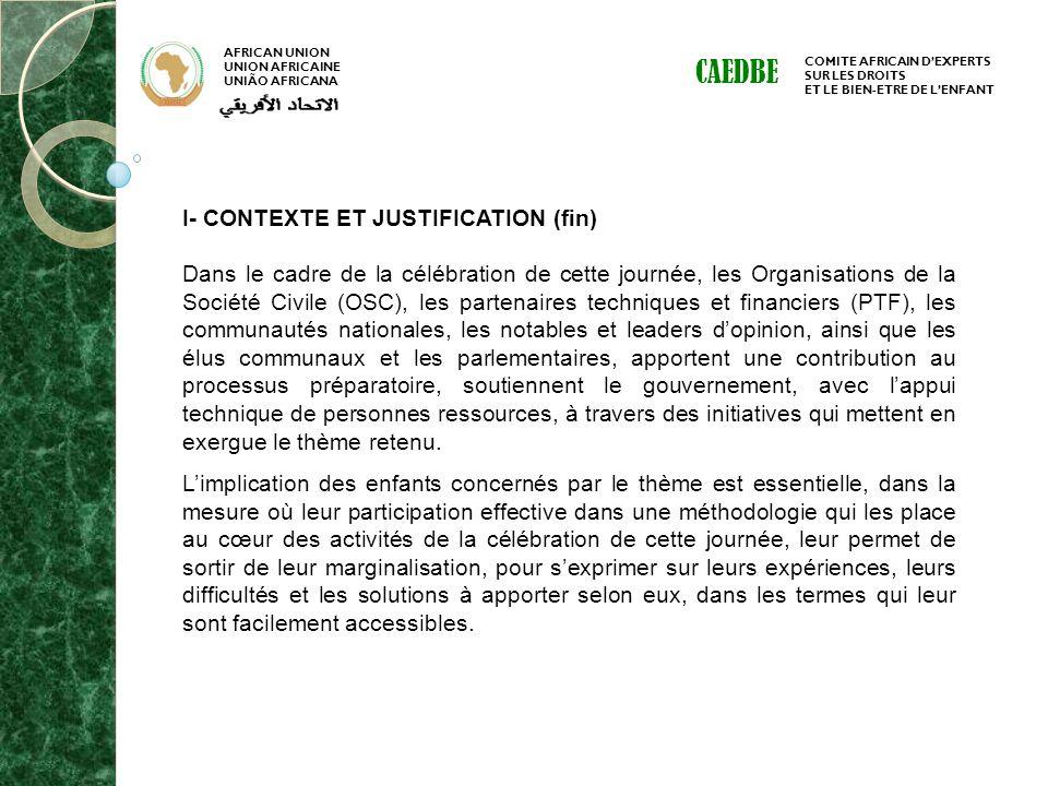 CAEDBE I- CONTEXTE ET JUSTIFICATION (fin)