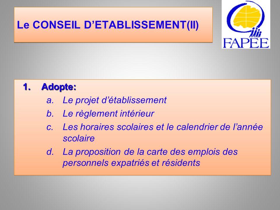 Le CONSEIL D'ETABLISSEMENT(II)