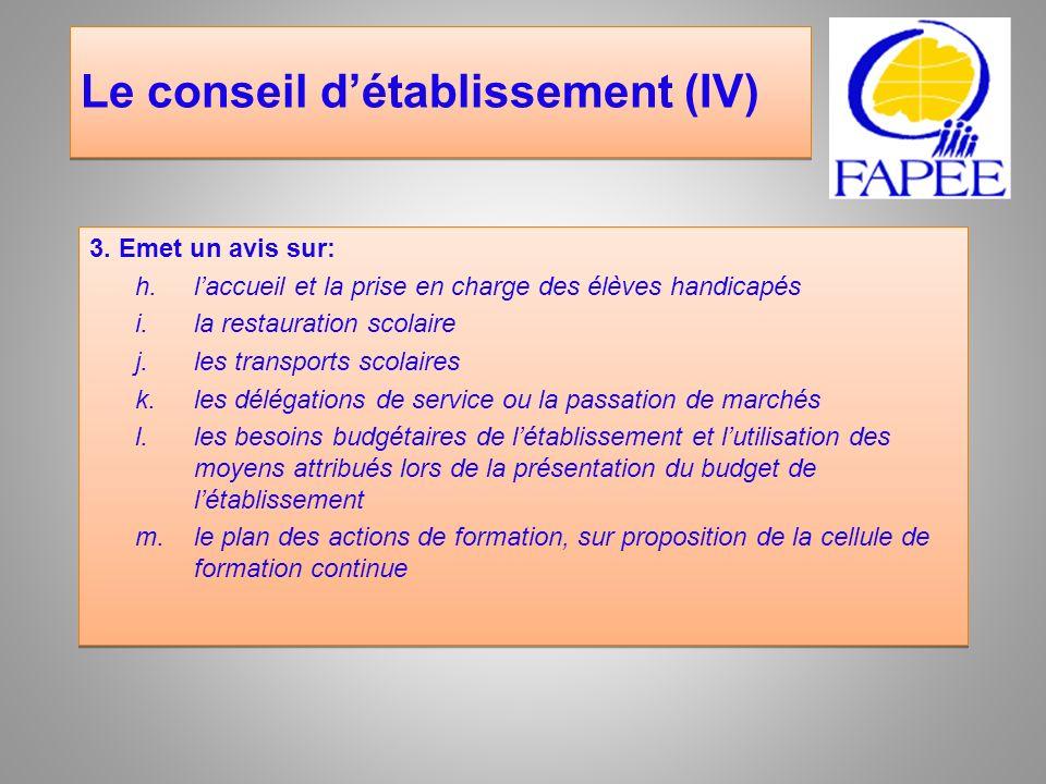Le conseil d'établissement (IV)