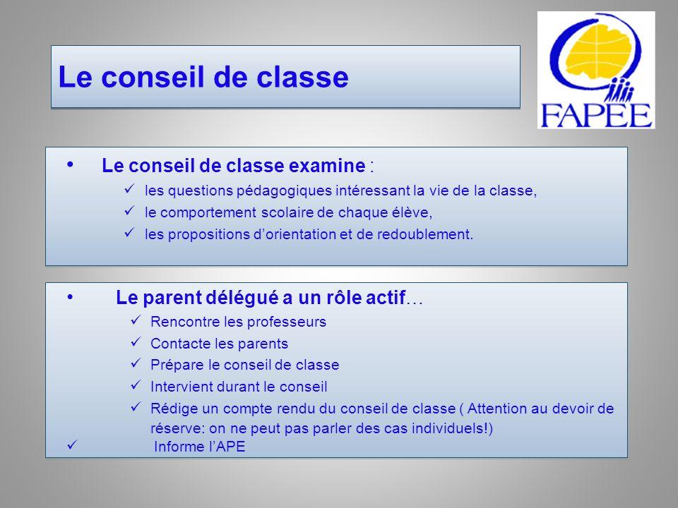 Le conseil de classe Le conseil de classe examine :