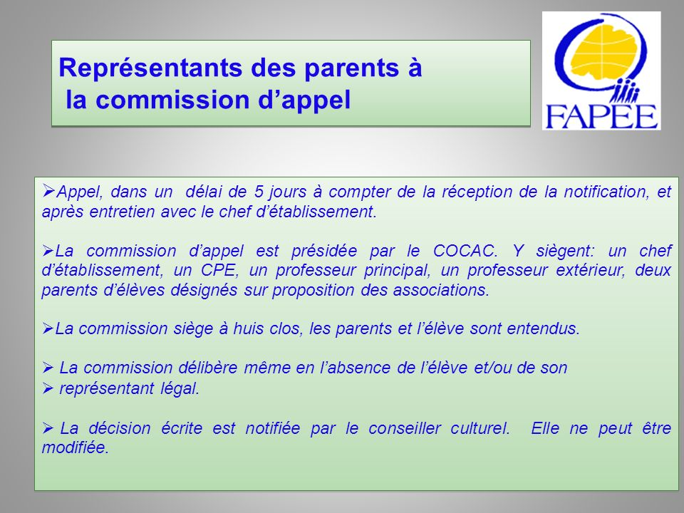 Représentants des parents à la commission d'appel