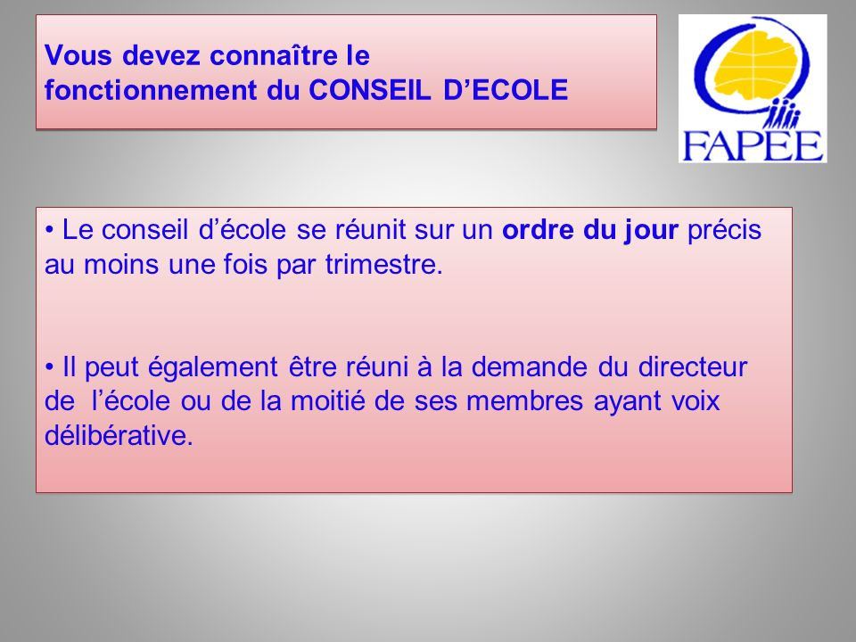 Vous devez connaître le fonctionnement du CONSEIL D'ECOLE
