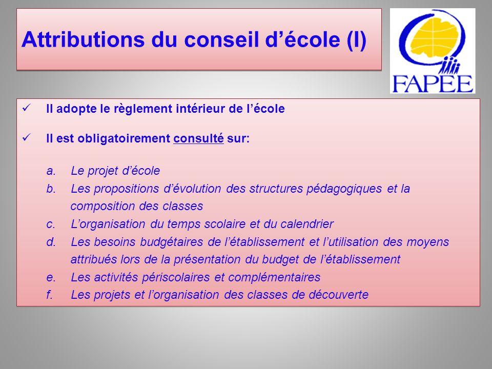 Attributions du conseil d'école (I)