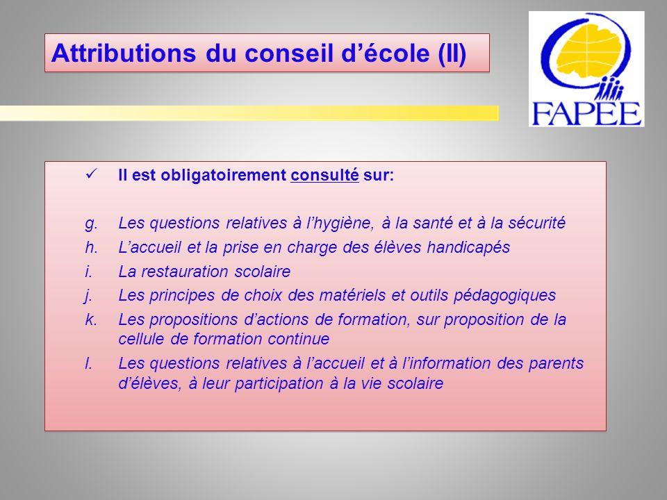 Attributions du conseil d'école (II)