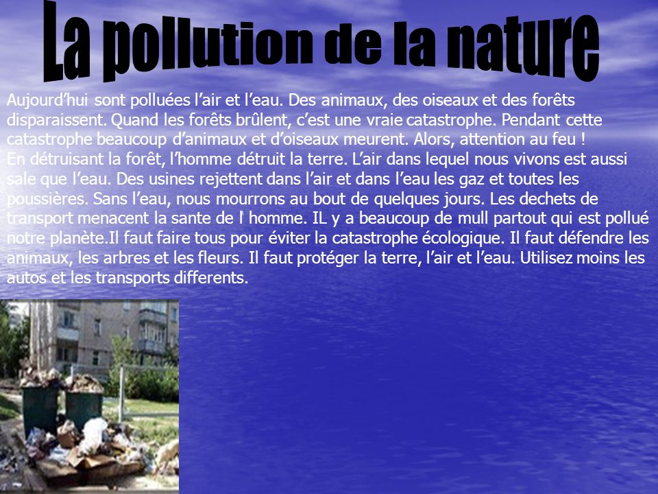 La pollution de la nature