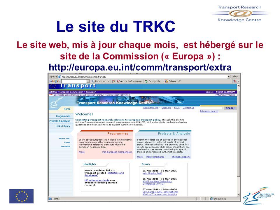 Le site du TRKC Le site web, mis à jour chaque mois, est hébergé sur le site de la Commission (« Europa ») :