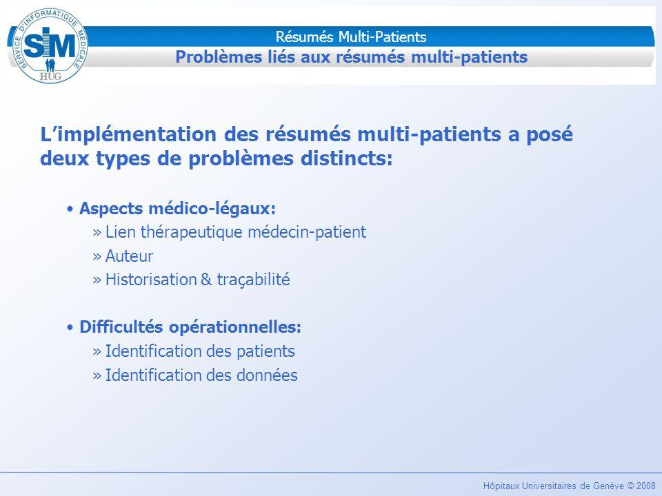 Problèmes liés aux résumés multi-patients