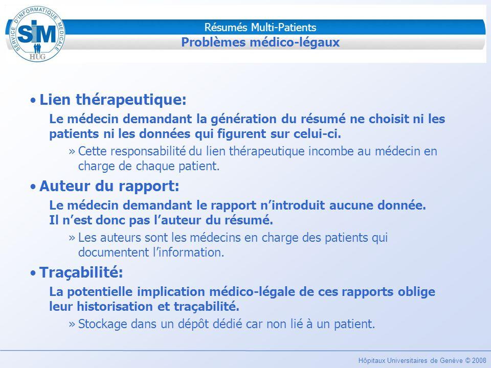 Problèmes médico-légaux