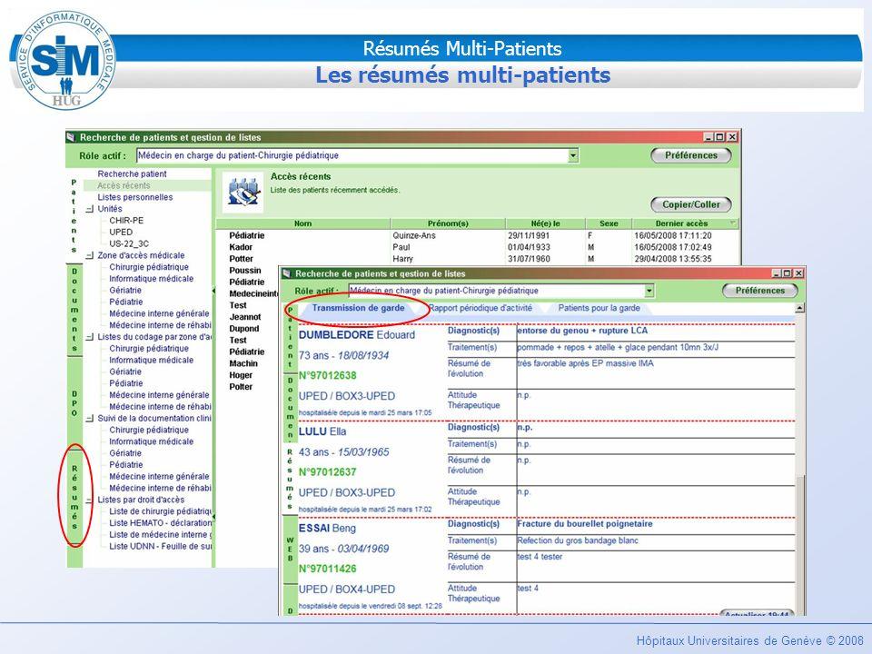 Les résumés multi-patients