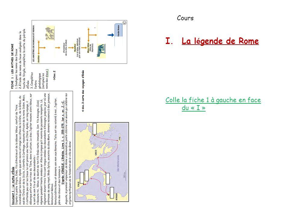 Cours La légende de Rome Colle la fiche 1 à gauche en face du « I »