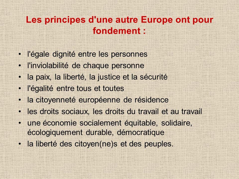 Les principes d une autre Europe ont pour fondement :