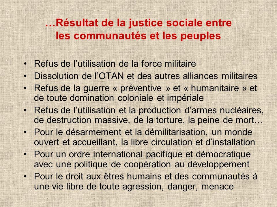 …Résultat de la justice sociale entre les communautés et les peuples