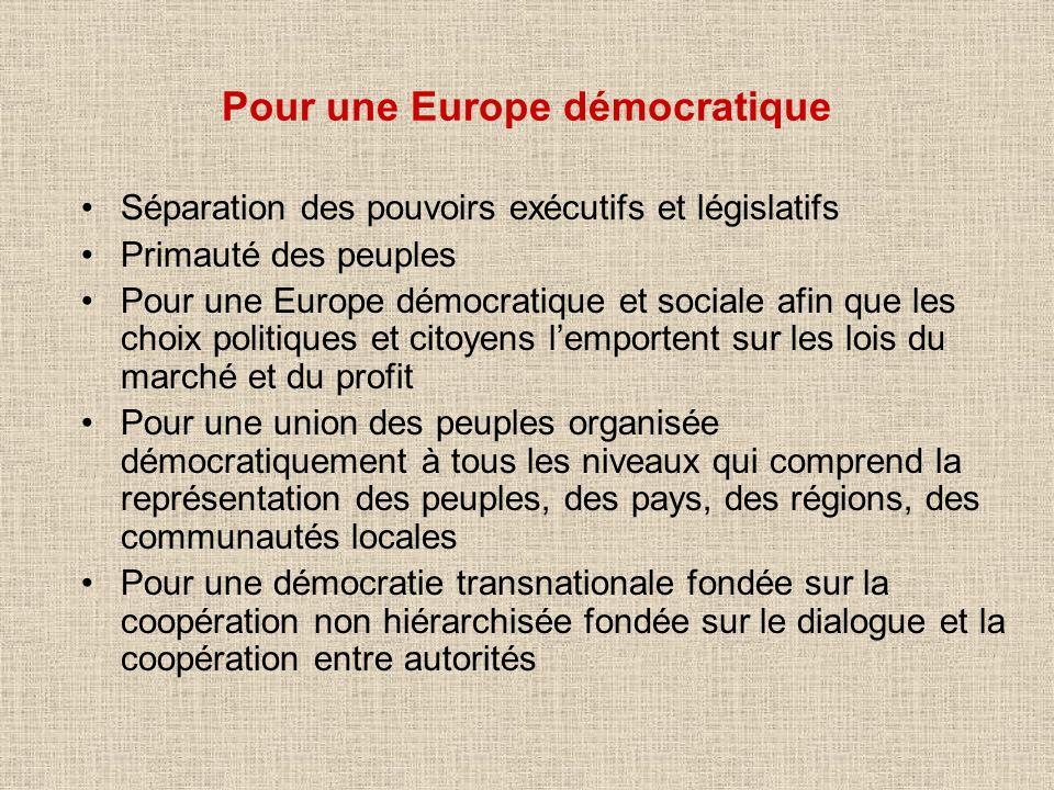 Pour une Europe démocratique