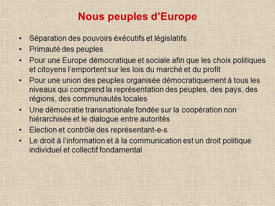 Nous peuples d'Europe Séparation des pouvoirs éxécutifs et législatifs