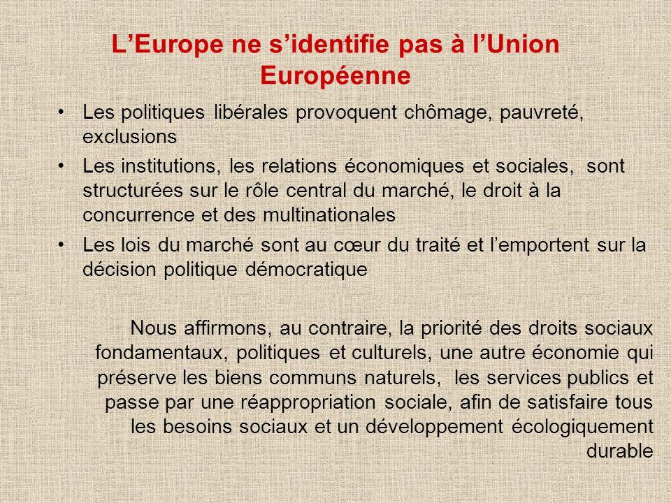 L'Europe ne s'identifie pas à l'Union Européenne