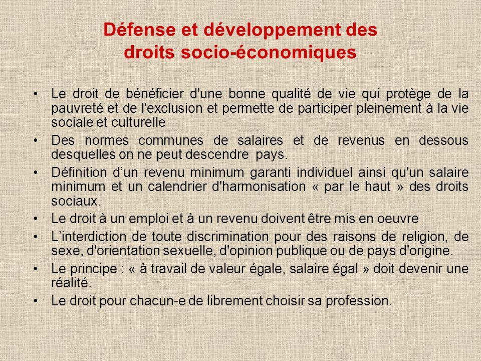 Défense et développement des droits socio-économiques