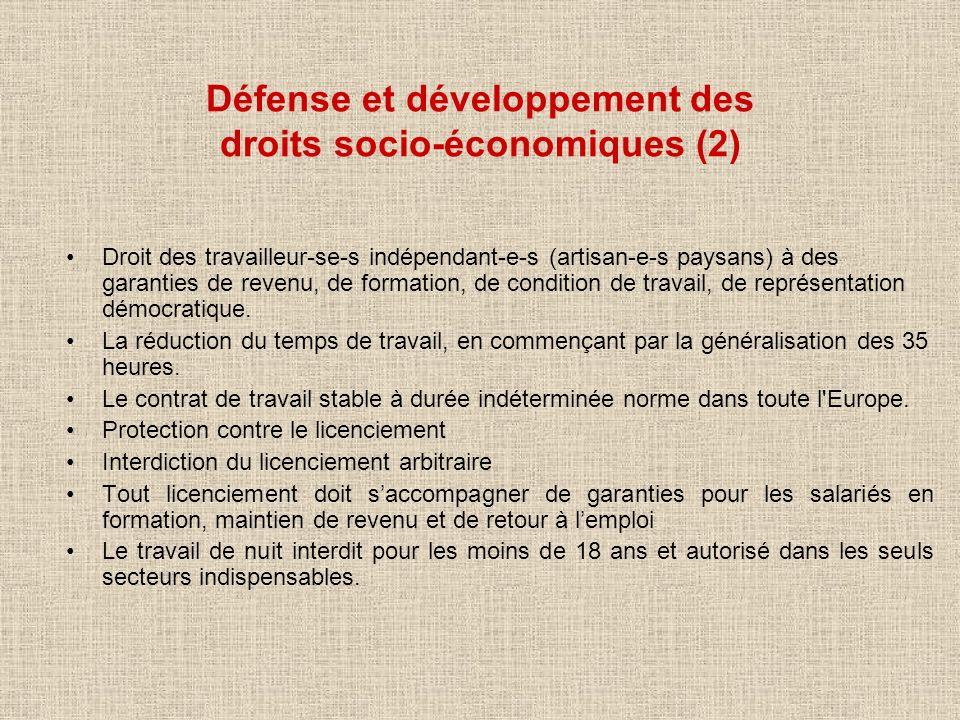 Défense et développement des droits socio-économiques (2)