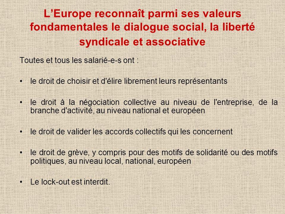 L'Europe reconnaît parmi ses valeurs fondamentales le dialogue social, la liberté syndicale et associative