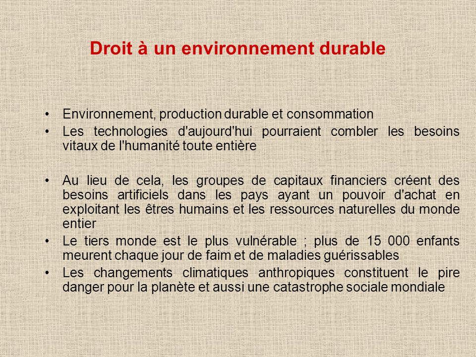 Droit à un environnement durable