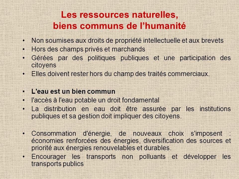 Les ressources naturelles, biens communs de l'humanité