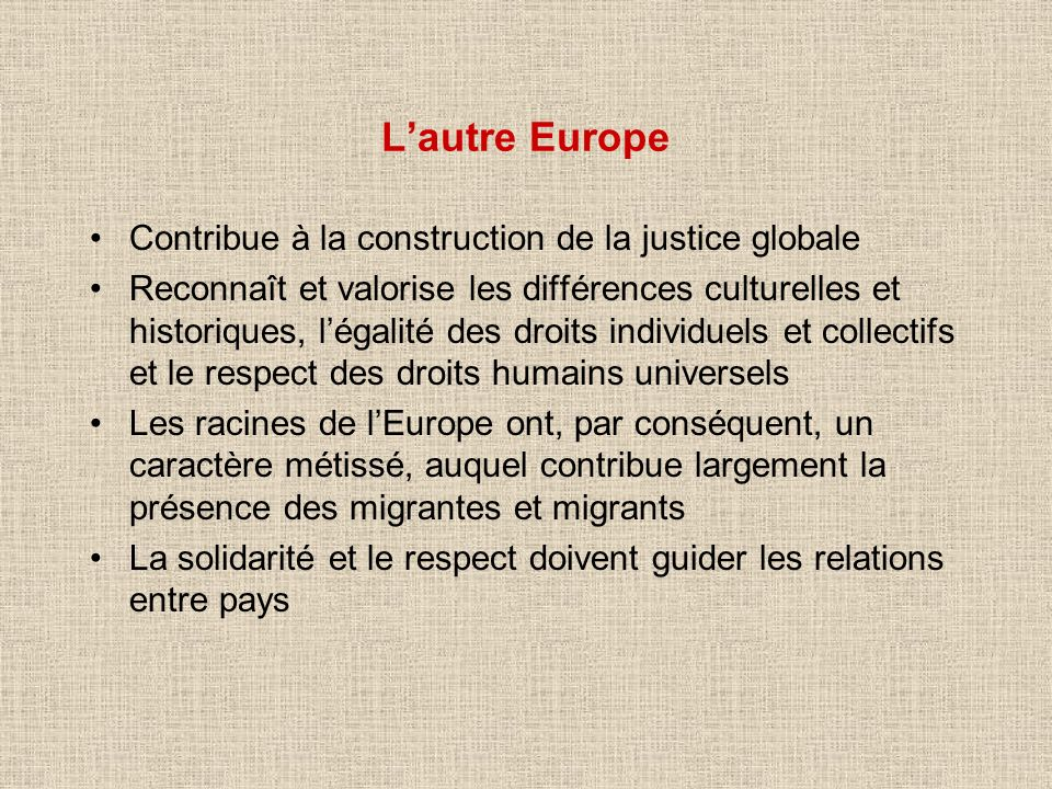 L'autre Europe Contribue à la construction de la justice globale