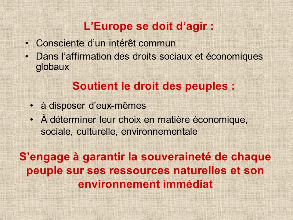 L'Europe se doit d'agir :