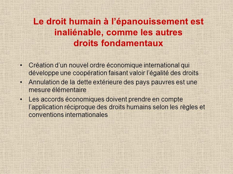 Le droit humain à l'épanouissement est inaliénable, comme les autres droits fondamentaux
