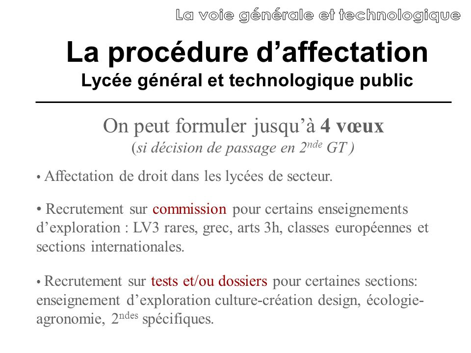 La procédure d'affectation