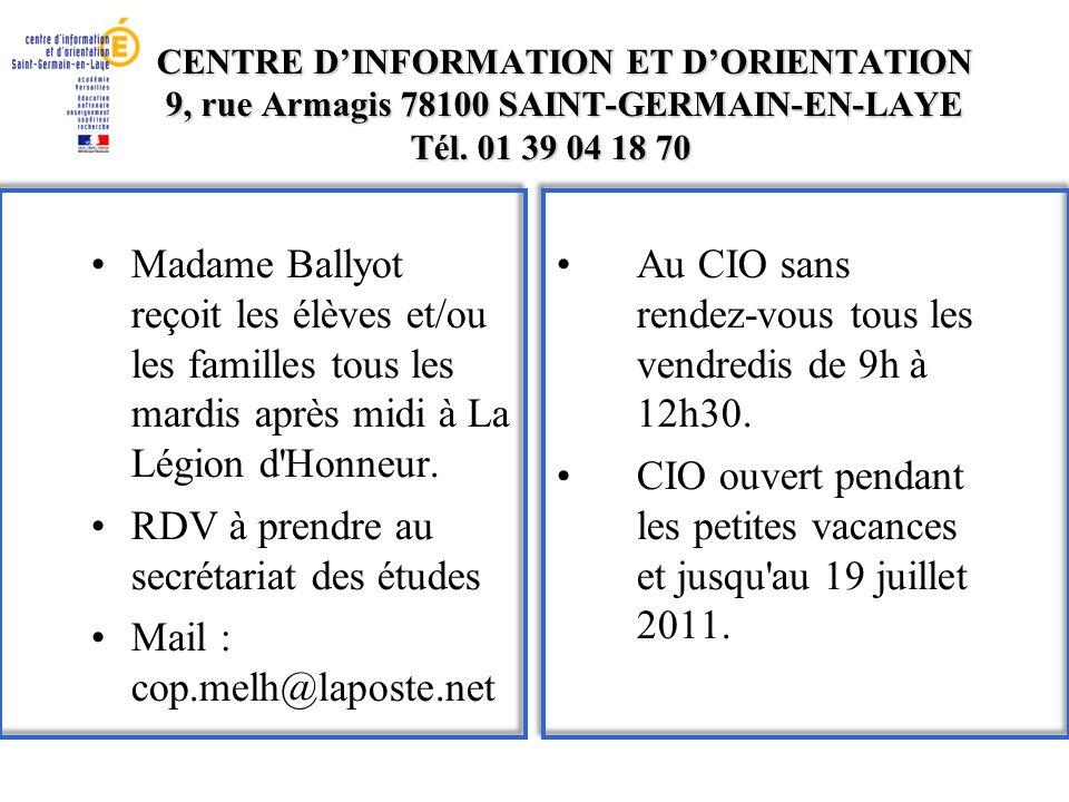 RDV à prendre au secrétariat des études Mail : cop.melh@laposte.net