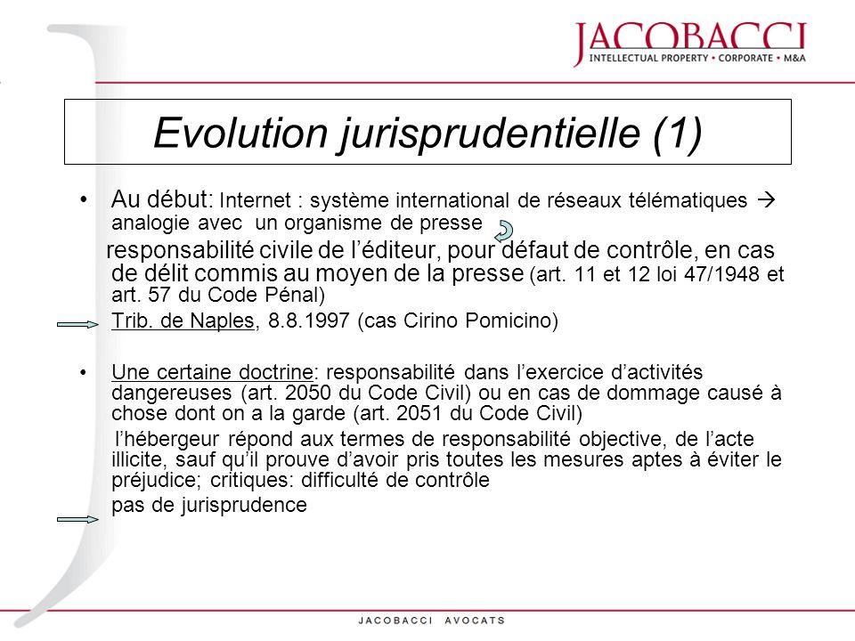 Evolution jurisprudentielle (1)