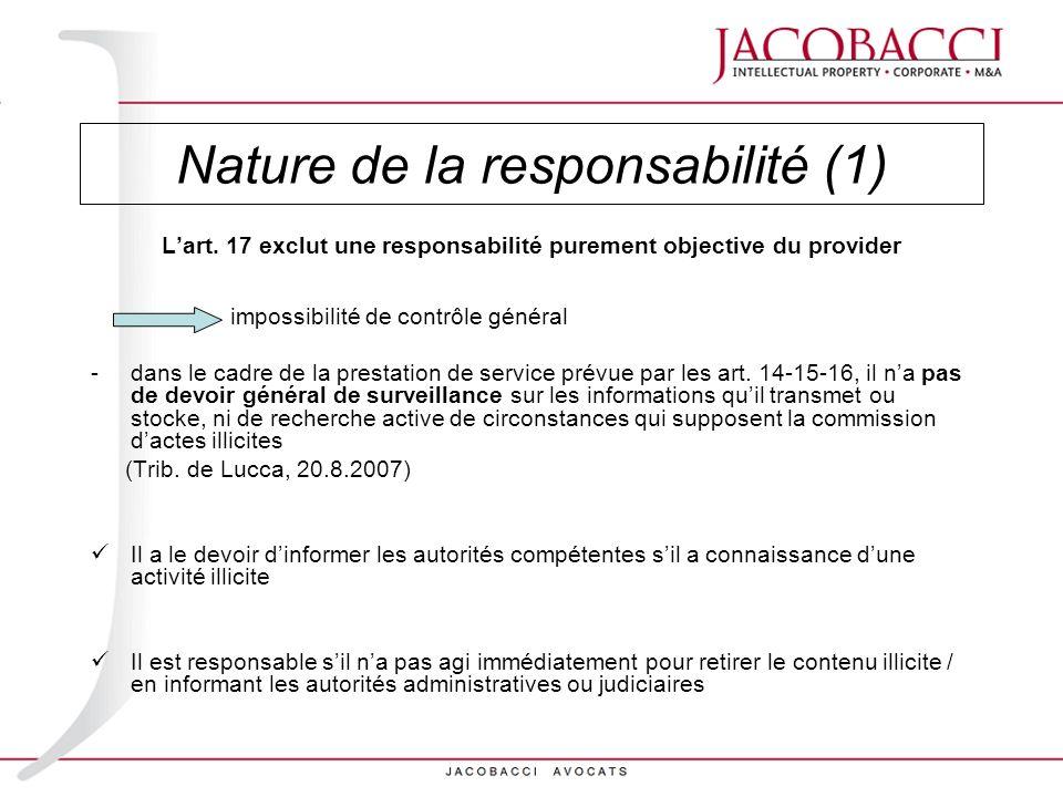 Nature de la responsabilité (1)