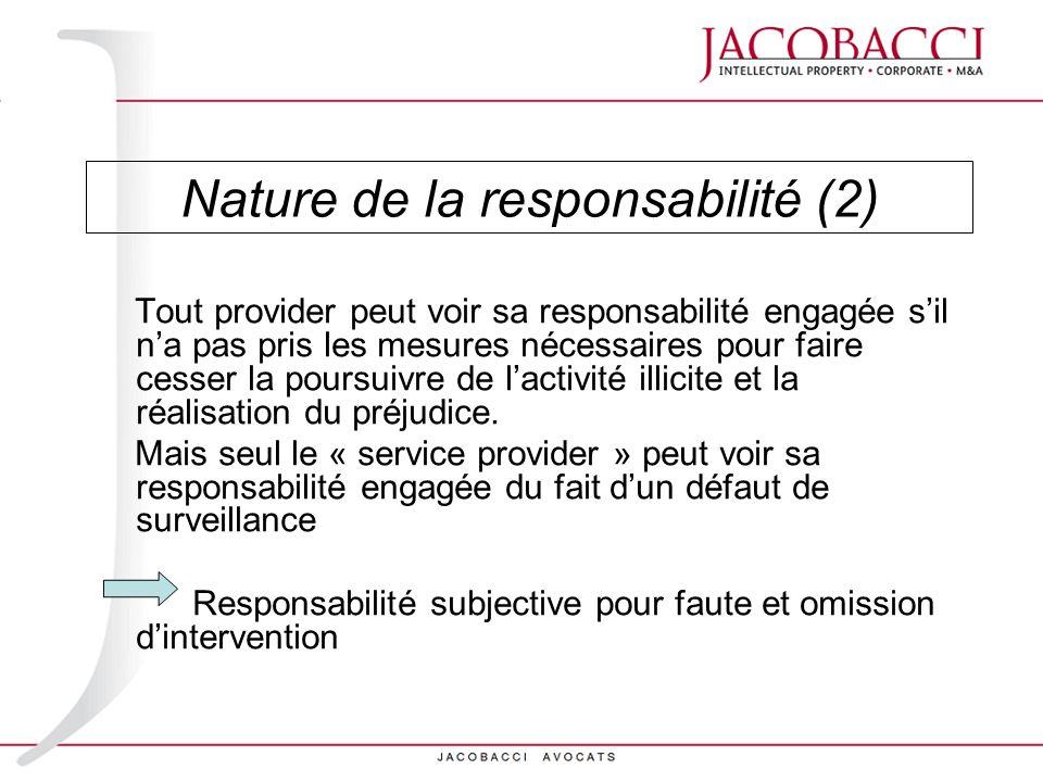 Nature de la responsabilité (2)