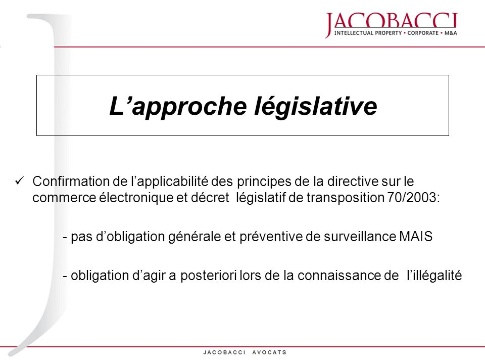 L'approche législative