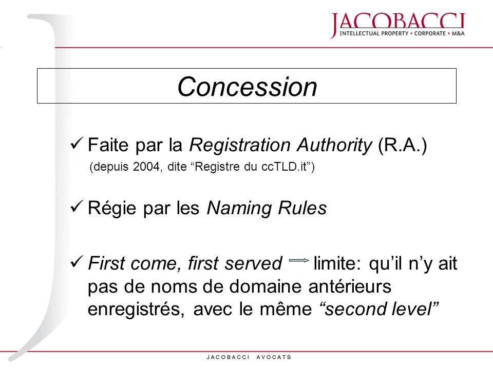 Concession Faite par la Registration Authority (R.A.)