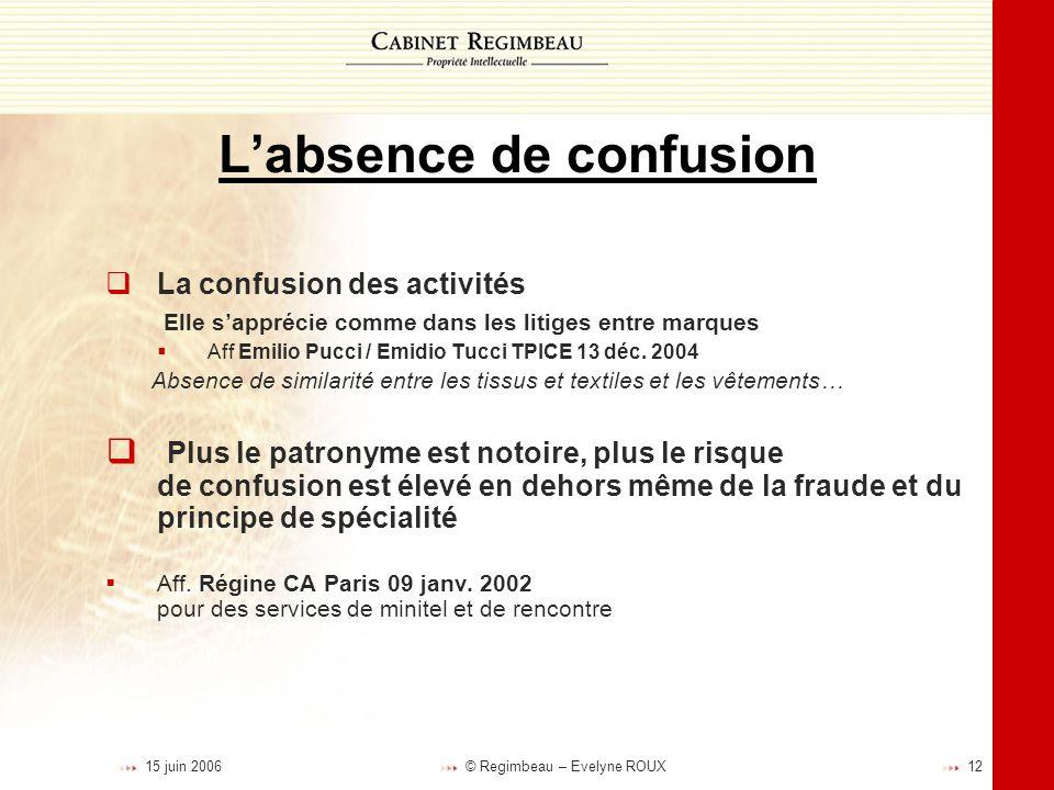 L'absence de confusion