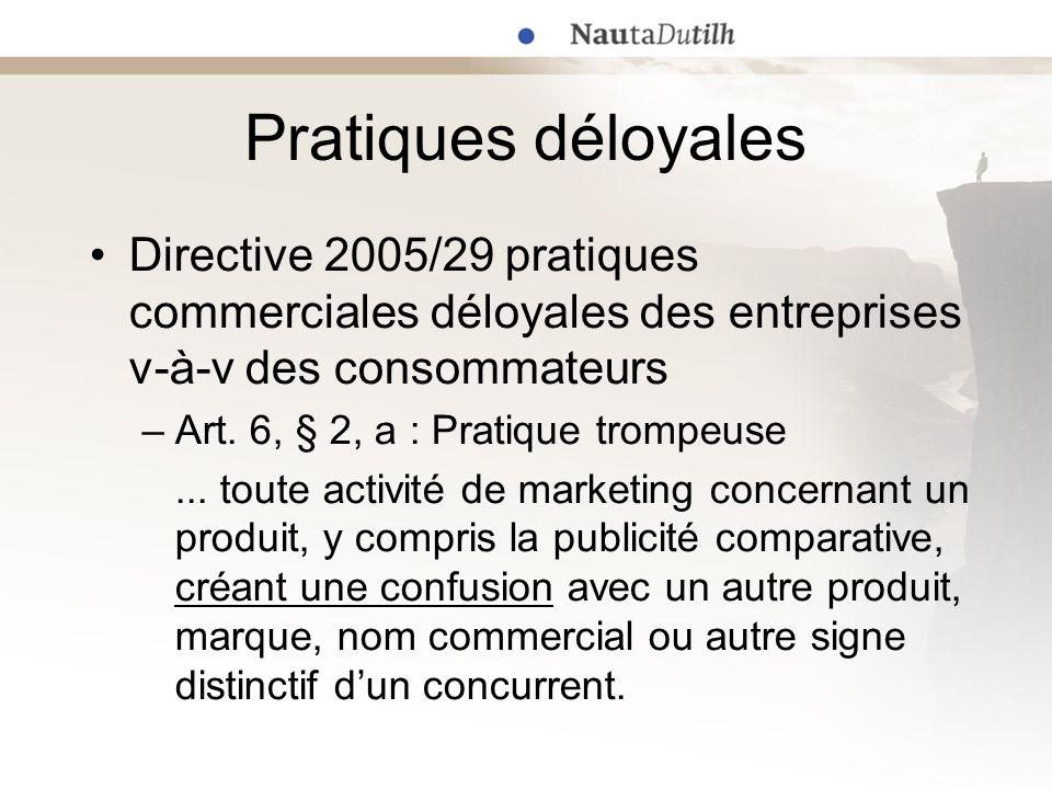 Pratiques déloyales Directive 2005/29 pratiques commerciales déloyales des entreprises v-à-v des consommateurs.