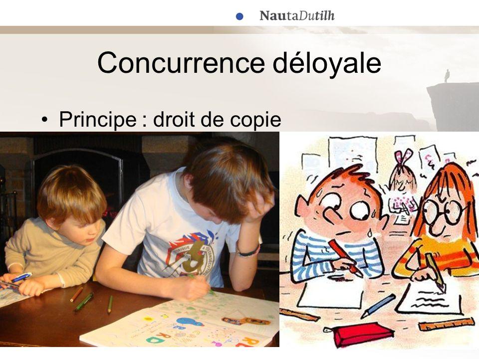 Concurrence déloyale Principe : droit de copie