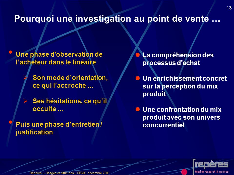 Pourquoi une investigation au point de vente …
