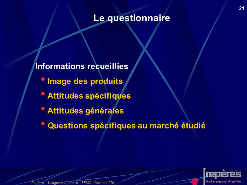 Le questionnaire Informations recueillies Image des produits