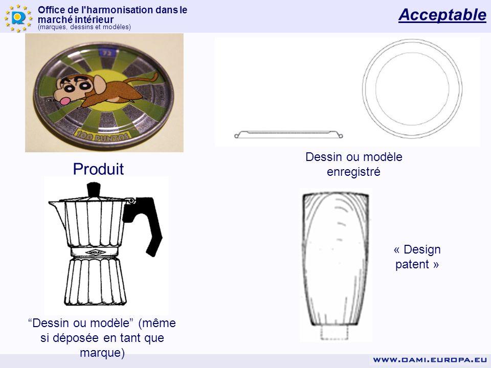 Acceptable Produit Dessin ou modèle enregistré « Design patent »